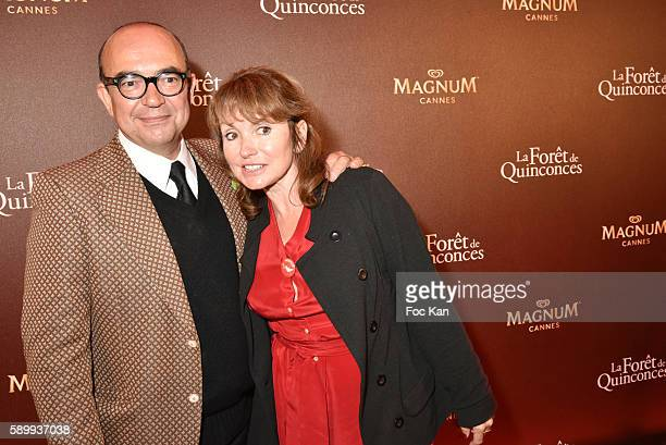 TV presenters Karl Zero and his wife Daisy d'Errata attend the La Foret des Quinconces Party and Feu Chatterton Concert during the 69th annual Cannes...