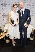 Presenters Keira Knightley and Mark Strong pose at The Moet British Independent Film Awards 2014 at Old Billingsgate Market on December 7 2014 in...