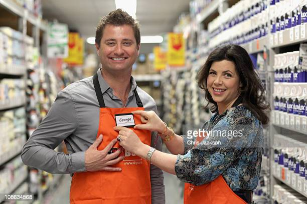 Presenters Kirstie Allsopp and George Clarke pose for a photograph in B and Q Wandsworth on January 31 2011 in London England B and Q the UKs leading...