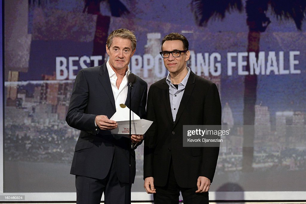 Presenters <a gi-track='captionPersonalityLinkClicked' href=/galleries/search?phrase=Kyle+MacLachlan&family=editorial&specificpeople=213038 ng-click='$event.stopPropagation()'>Kyle MacLachlan</a> and <a gi-track='captionPersonalityLinkClicked' href=/galleries/search?phrase=Fred+Armisen&family=editorial&specificpeople=221426 ng-click='$event.stopPropagation()'>Fred Armisen</a> speak onstage during the 2013 Film Independent Spirit Awards at Santa Monica Beach on February 23, 2013 in Santa Monica, California.