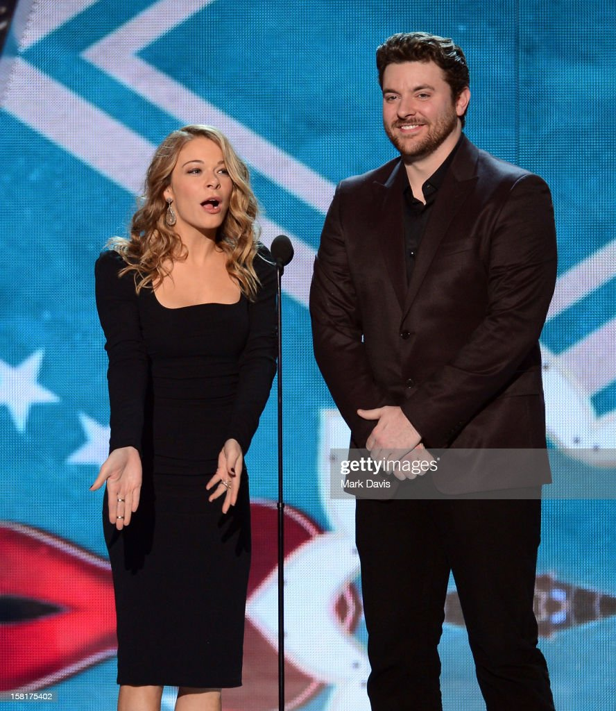 Presenters LeAnn Rimes and Chris Young speak onstage during the 2012 American Country Awards at the Mandalay Bay Events Center on December 10, 2012 in Las Vegas, Nevada.