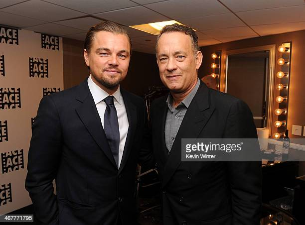 Presenters Leonardo Dicaprio and Tom Hanks pose in the green room at the 64th Annual ACE Eddie Awards at Paramount Studios on February 7 2014 in...