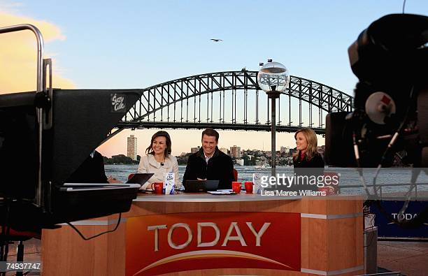 Presenters Lisa Wilkinson Karl Stefanovic and Allison Langdon present live onair as part of the Today Show 25th birthday celebrations outside the...