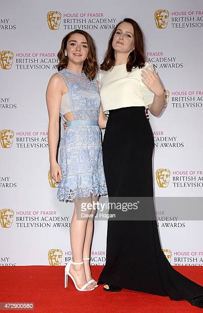 Presenters Maisie Williams and Sophie McShera pose in the winners room at the House of Fraser British Academy Television Awards at Theatre Royal on...