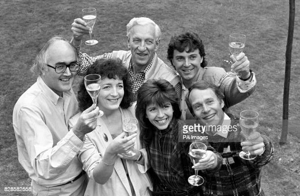 Presenters of BBC television's Tomorrow's World from left James Burke Judith Hann Raymond Baxter Maggie Philbin Peter Macann and Howard Stableford...