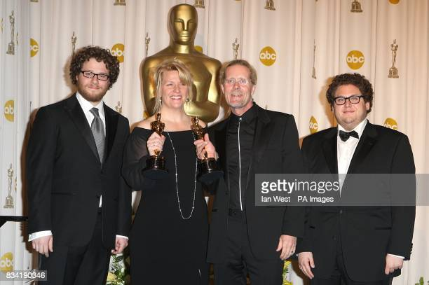 Presenters of the award Seth Rogen and Jonah Hill with karen Baker Landers and Per Halberg with the award for Achievement in SOund Editing received...