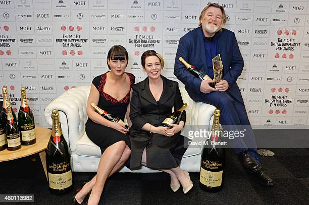 Presenters Olivia Williams Olivia Colman and Brendan Gleeson winner of the Best Actor award for 'Calvary' pose at The Moet British Independent Film...