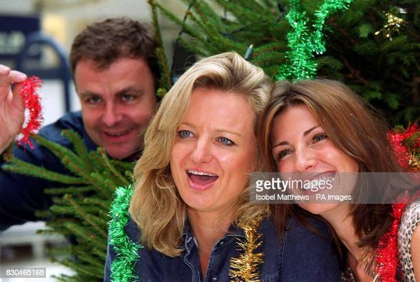 TV presenters Paul Ross and Alice beer with fashion model Stacey Young at Liverpool Street station in London for the launch of an appeal for the...