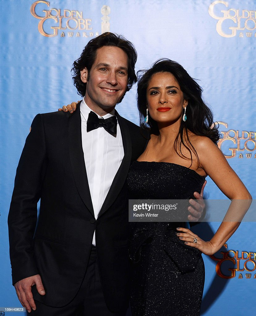 Presenters Paul Rudd (L) and Salma Hayek pose in the press room during the 70th Annual Golden Globe Awards held at The Beverly Hilton Hotel on January 13, 2013 in Beverly Hills, California.