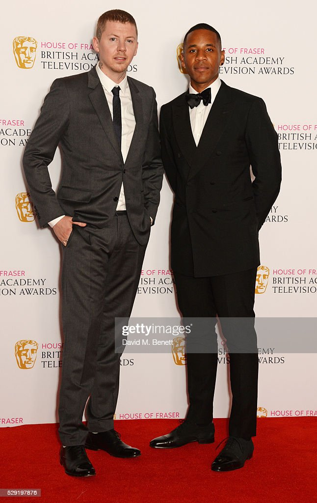 Presenters Professor Green and Reggie Yates pose in the winners room at the House Of Fraser British Academy Television Awards 2016 at the Royal...