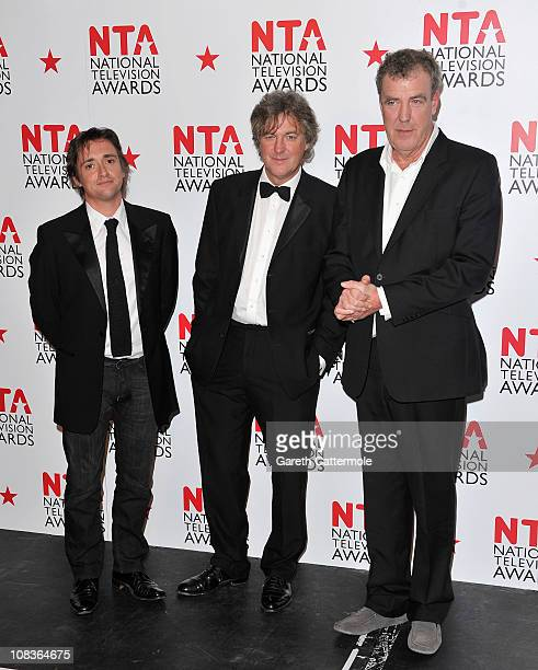 Presenters Richard Hammond James May and Jeremy Clarkson who won the Most Popular Factual Programme for Top Gear during the National Television...