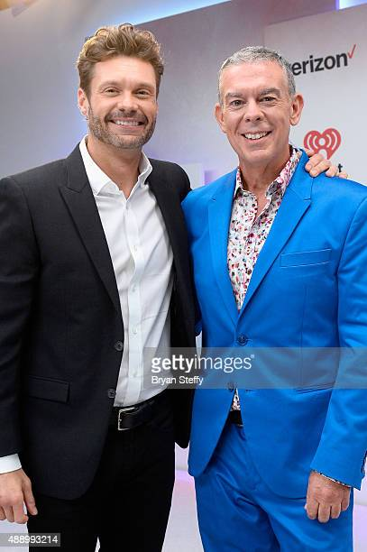 Presenters Ryan Seacrest and Elvis Duran attend the 2015 iHeartRadio Music Festival at MGM Grand Garden Arena on September 18 2015 in Las Vegas Nevada