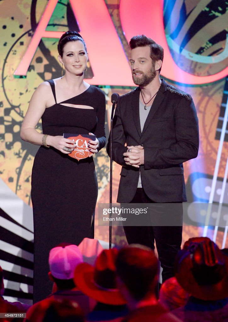 Presenters Shawna Thompson and Keifer Thompson of Thompson Square speak onstage during the American Country Awards 2013 at the Mandalay Bay Events...
