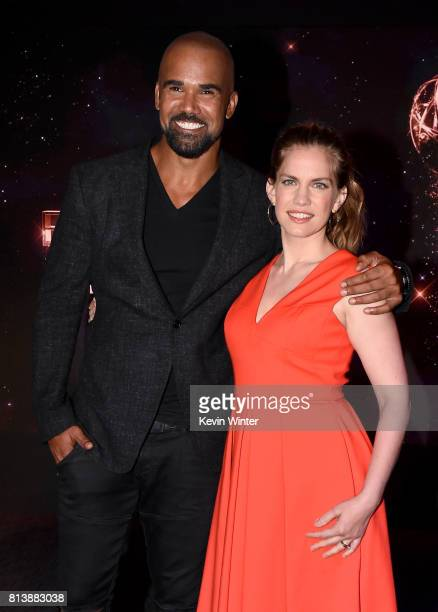 Presenters Shemar Moore and Anna Chlumsky pose onstage at the 69th Emmy Awards Nominations Announcement at Saban Media Center on July 13 2017 in...