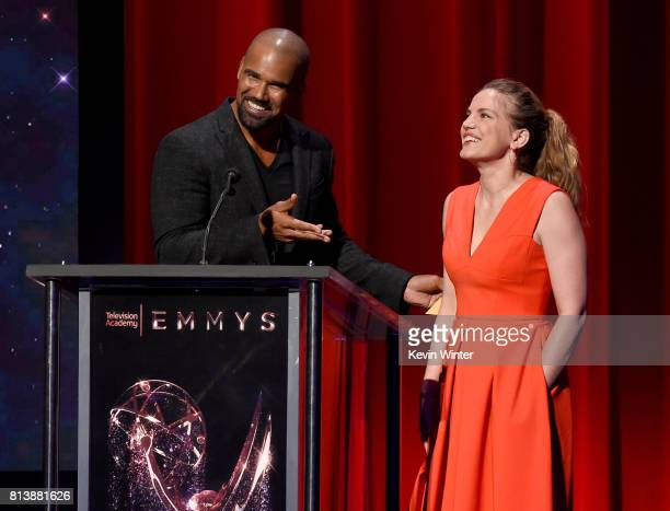 Presenters Shemar Moore and Anna Chlumsky speak onstage at the 69th Emmy Awards Nominations Announcement at Saban Media Center on July 13 2017 in...