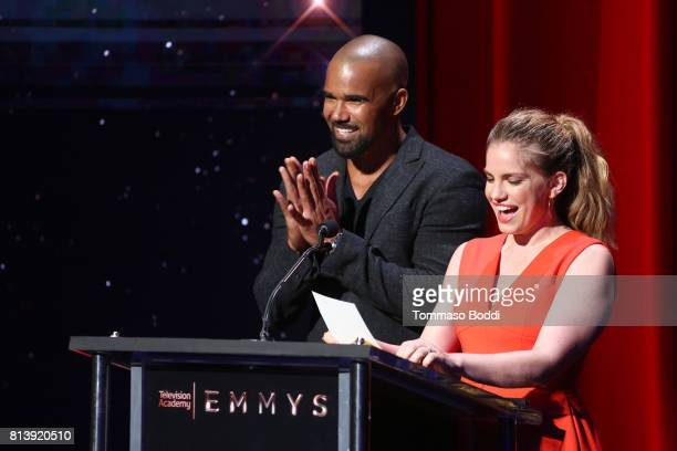 Presenters Shemar Moore and Anna Chlumsky speak onstage during the 69th Emmy Awards Nominations Announcement at Saban Media Center on July 13 2017 in...
