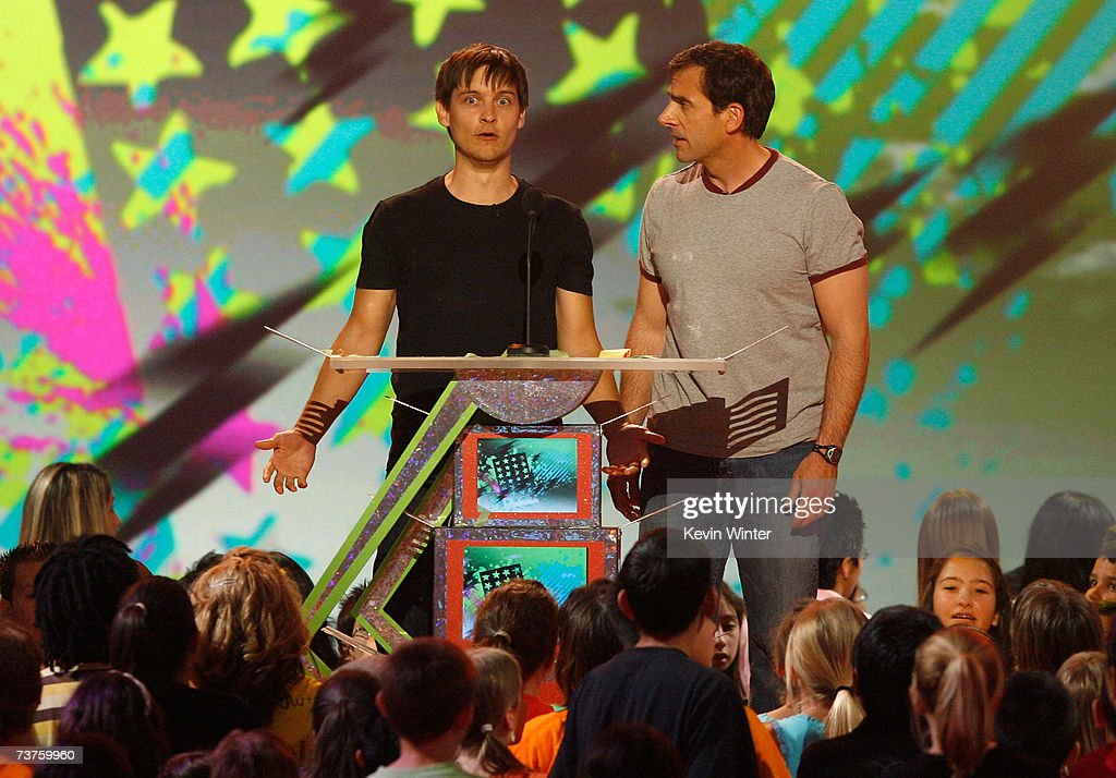 Presenters Tobey Maguire and Steve Carell onstage during the 20th Annual Kid's Choice Awards held at the UCLA Pauley Pavilion on March 31 2007 in...