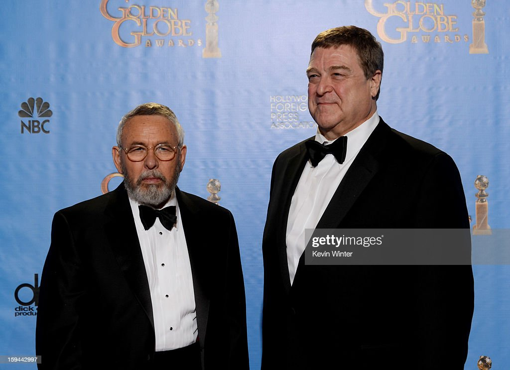 Presenters Tony Mendez (L) and John Goodman pose in the press room during the 70th Annual Golden Globe Awards held at The Beverly Hilton Hotel on January 13, 2013 in Beverly Hills, California.