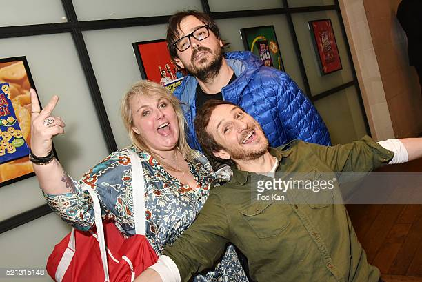 TV presenters Valerie Damidot and Phil from DCO and Singer Michel Vedette attend 'Vico Partenaire Des Supporters A Domicile' Party at 132 Avenue de...