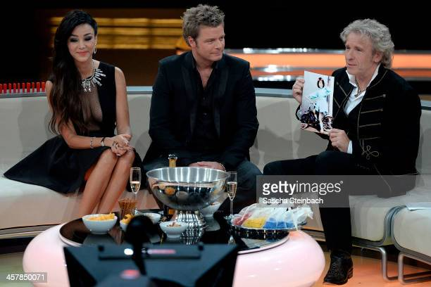 Presenters Verona Pooth Oliver Geissen and Thomas Gottschalk attend the taping of the anniversary show '30 Jahre RTL Die grosse Jubilaeumsshow mit...