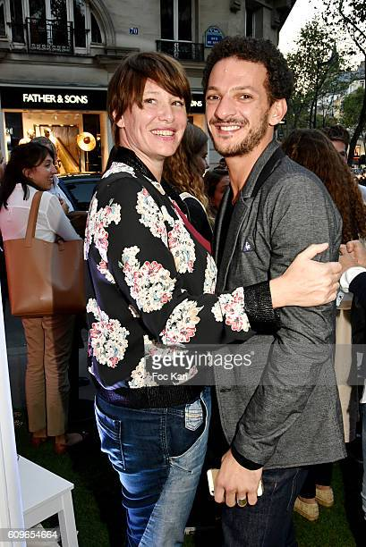 TV presenters Vincent Dedienne and Maitena BirabenÊattend the Coq Sportif Boutique Opening Party on September 21 2016 in Paris France