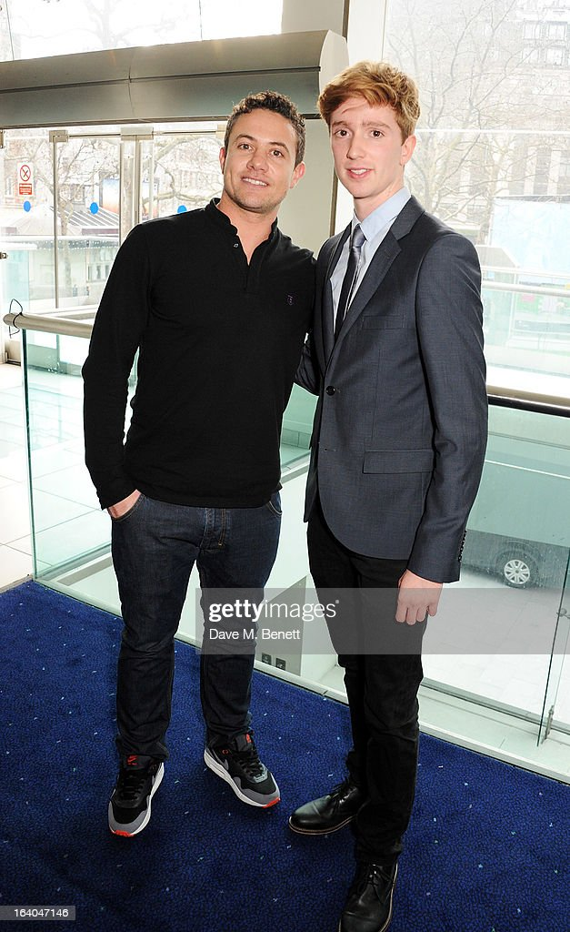 Presenters Warren Brown (L) and Luke Newberry attend the First Light Awards at Odeon Leicester Square on March 19, 2013 in London, England.