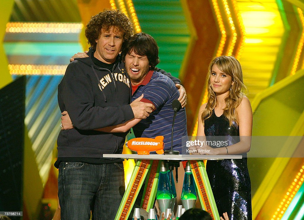 Presenters Will Ferrell Jon Heder and Emma Roberts onstage during the 20th Annual Kid's Choice Awards held at the UCLA Pauley Pavilion on March 31...