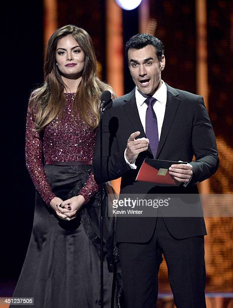 Presenters Ximena Navarrete and David Zepeda speak onstage during The 14th Annual Latin GRAMMY Awards at the Mandalay Bay Events Center on November...