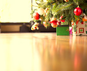 Sneak under the Christmas tree to find out what gifts are on the way to you! The wood floor serves as a perfect area for copy space.