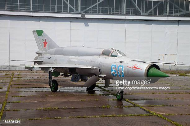 A preserved MiG-21SMT at the former Russian 16th Air Army base, Altenburg Airfield, Germany.