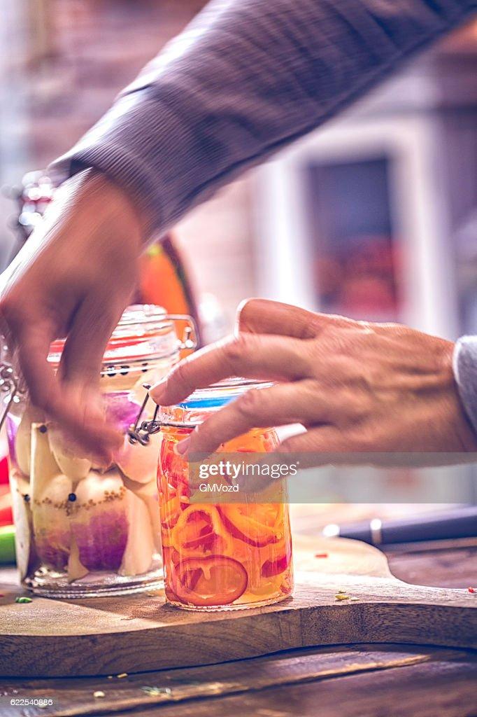 Preserving Organic Vegetables in Jars : Stock Photo