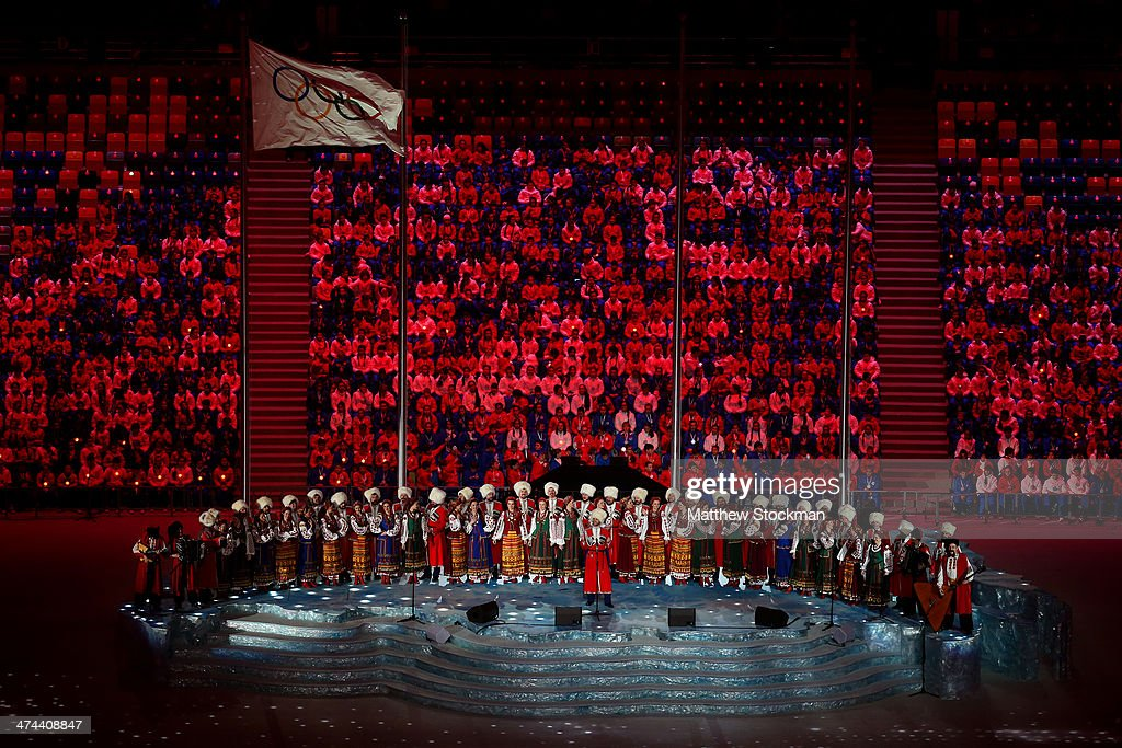 Pre-show performance by the Kuban Cossack Choir during the 2014 Sochi Winter Olympics Closing Ceremony at Fisht Olympic Stadium on February 23, 2014 in Sochi, Russia.