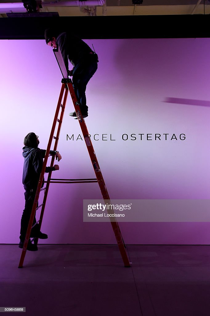 Pre-show preparations for the Marcel Ostertag show at Fall 2016 New York Fashion Week at the Skylight at Clarkson sq on February 11, 2016 in New York City.