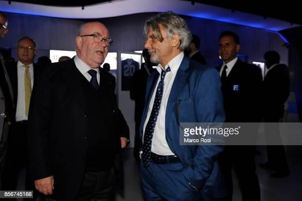 Presiden of Italian Football Federation Carlo Tavecchio and President os Us Sampdoria Massimo Ferrero during the new FIGC logo unveiling at Maxxi...
