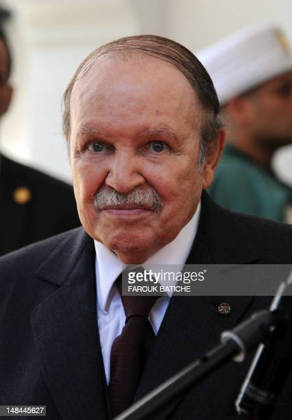 President Abdelaziz Bouteflika waits to greet Laurent Fabius on July 16 2012 on the French foreign minister's first official trip to an Arab country...
