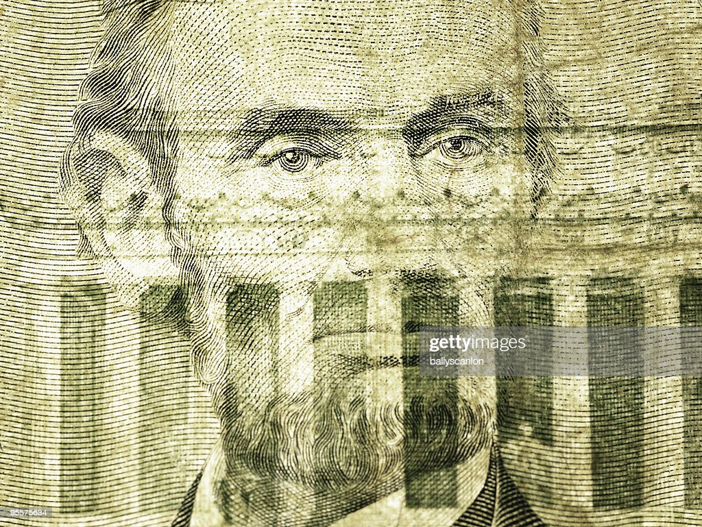 President Abraham Lincoln On The Five Dollar Bill. : Stock Photo