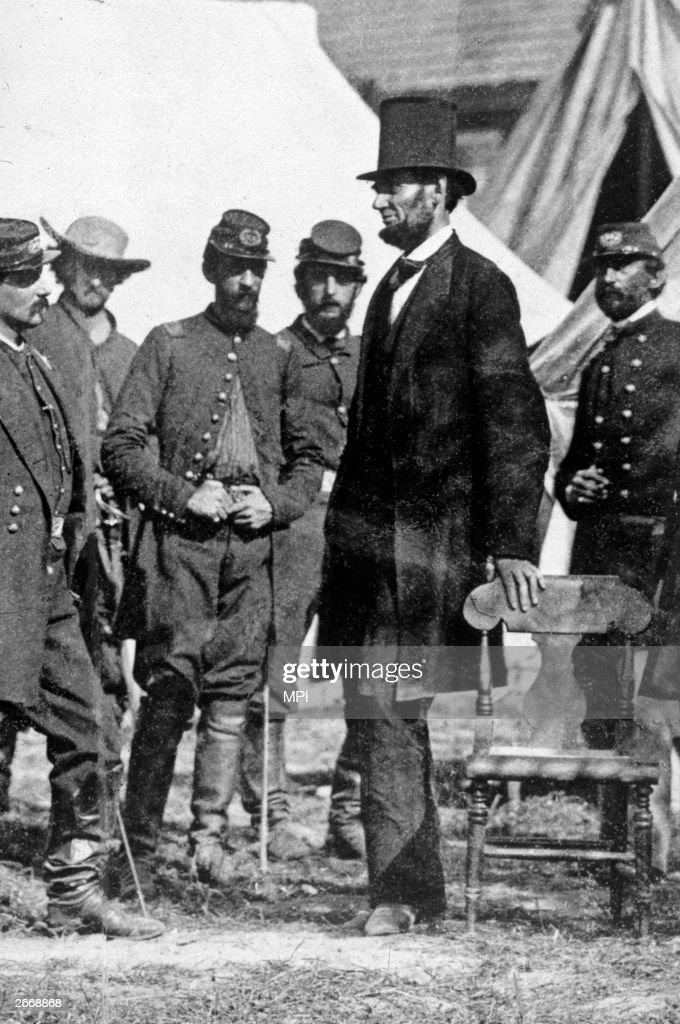 President Abraham Lincoln with General George McClellan at his headquarters on the battlefield of Antietam in Maryland