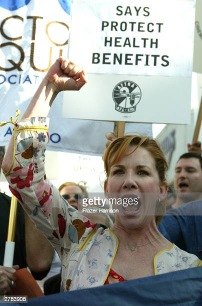 President actress Melissa Gilbert along with other SAG and AFTRA members joins striking UFCW Picket Lines supporting the striking grocery workers...