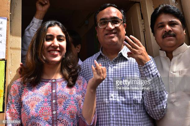 President Ajay Maken along with his daughter at a polling booth after casting his vote for MCD Election 2017 in New Delhi
