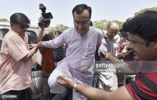 President Ajay Maken talking to media persons during the MCD election results at Vijay Chowk on April 26 2017 in New Delhi India It's a third term...