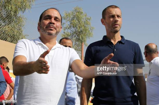 President Aleksander Ceferin and Jordan's Prince Ali bin alHussein attend the opening ceremony of a football field at the Zaatari refugee camp 80...
