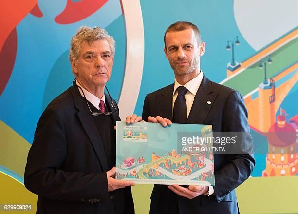 UEFA president Aleksander Ceferin and president of the Royal Spanish Football Federation and UEFA vicepresident Angel Maria Villar pose for...