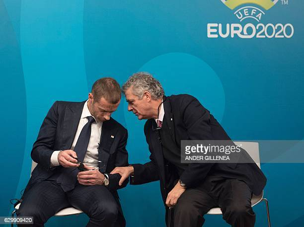 UEFA president Aleksander Ceferin and president of the Royal Spanish Football Federation and UEFA vicepresident Angel Maria Villar chat during the...