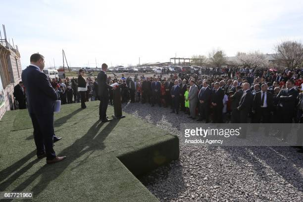 President Aleksander Ceferin speaks during the groundbreaking ceremony of the Football Academy with the attendance of Armenian President Serzh...