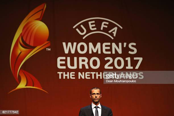President Aleksander Ceferin speaks on stage during the UEFA Women's EURO 2017 Final Tournament Draw held at the Luxor Theater on November 8 2016 in...