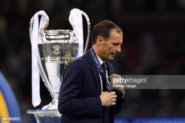 President Aleksander Ceferin walks past the Champions League trophy after the UEFA Champions League Final between Juventus and Real Madrid at...