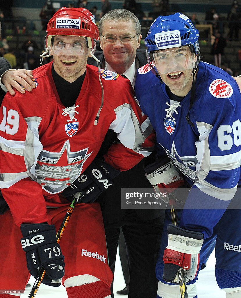 KHL President <a gi-track='captionPersonalityLinkClicked' href=/galleries/search?phrase=Alexander+Medvedev&family=editorial&specificpeople=671477 ng-click='$event.stopPropagation()'>Alexander Medvedev</a>, captain of the Yashin team <a gi-track='captionPersonalityLinkClicked' href=/galleries/search?phrase=Alexei+Yashin&family=editorial&specificpeople=201461 ng-click='$event.stopPropagation()'>Alexei Yashin</a> #19 (L) and captain of the Yashin team, Jaromir Jagr #68 are seen after the KHL All Star Game on February 05, 2011 at the Ice Palace in Saint Petersburg, Russia. The Jagr team defeated the Yashin team 18-16.