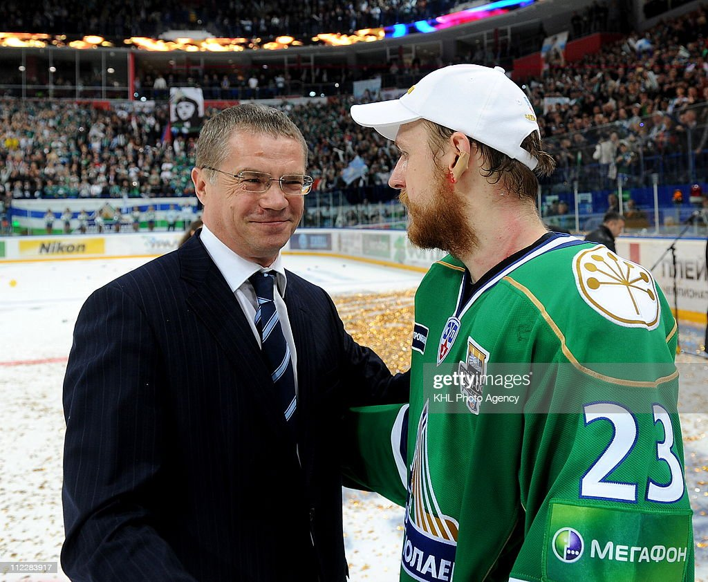 KHL President <a gi-track='captionPersonalityLinkClicked' href=/galleries/search?phrase=Alexander+Medvedev&family=editorial&specificpeople=671477 ng-click='$event.stopPropagation()'>Alexander Medvedev</a> congratulates Miroslav Blatak #23 of the the Salavat Yulaev Ufa after the Salavat Yulaev Ufa defeated the Atlant Mytishchi 3-2 and win the Gagarin Cup in Game Five of the 2011 KHL Gagarin Cup Final on April 16, 2011 at the Arena Ufa in Ufa, Russia.