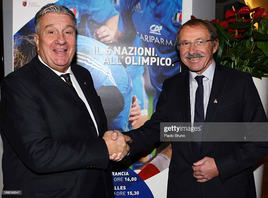 FIR President Alfredo Gavazzi and head coach <a gi-track='captionPersonalityLinkClicked' href=/galleries/search?phrase=Jacques+Brunel&family=editorial&specificpeople=557558 ng-click='$event.stopPropagation()'>Jacques Brunel</a> pose during the Italian Rugby Federation press conference ahead of 2012 RBS Six Nationsat Stadio Olimpico on January 10, 2013 in Rome, Italy.