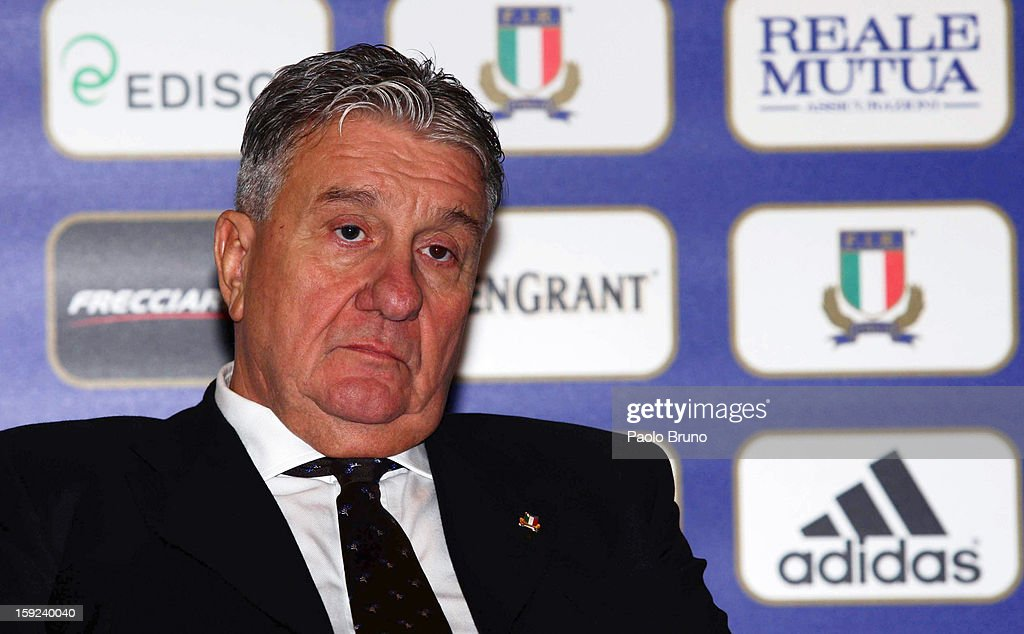President Alfredo Gavazzi attends an Italian Rugby Federation press conference ahead of 2012 RBS Six Nationsat Stadio Olimpico on January 10, 2013 in Rome, Italy.